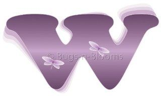 """w"" Purple Dragonfly Alphabet Letter Name Wall Sticker   Decal Letters for Children's, Nursery & Baby's Room Decor, Baby Name Wall Letters, Girls Bedroom Wall Letter Decorations, Child's Names. Dragonflies Mural Walls Decals Baby"