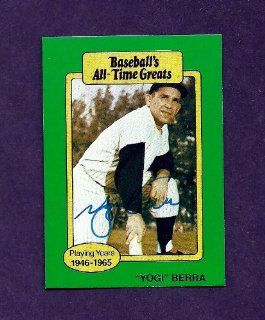 Yogi Berra New York Yankees Autographed Signed Baseball's All Time Greats Card   COA   Guaranteed Authentic   Near Mint Condition