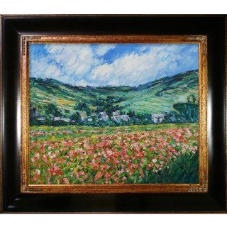 Art Claude Monet Poppy Field near Giverny 20 Inch by 24 Inch Framed Oil on Canvas   Oil Paintings