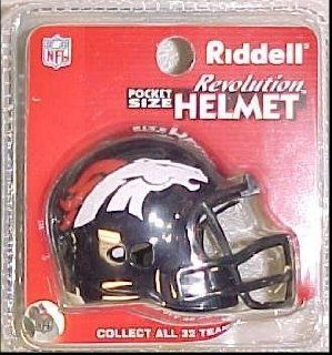 Denver Broncos Riddell Revolution Pocket Pro Football Helmet : Sports Related Collectible Mini Helmets : Sports & Outdoors