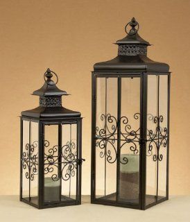 Deco 79 Metal Lantern, 29 by 22 Inch, Set of 2   Candle Holder Sets