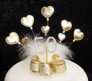 Gold Padded Heart and Diamante 50th Birthday Cake Topper Golden Wedding with White Marabou Feathers   Decorative Cake Toppers