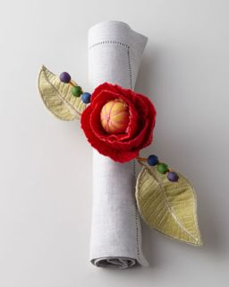 Red Poppy Napkin Ring   MacKenzie Childs