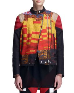 Womens Mosaic Double Zip Moto Jacket   Givenchy   Gold red (42/8)