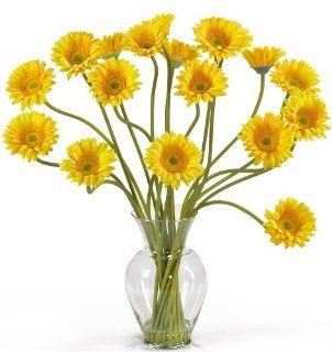Nearly Natural 1086 YL Gerber Daisy Liquid Illusion Silk Flower Arrangement, Yellow   Artificial Mixed Flower Arrangements