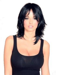 Dark brown nearly black shoulder length wig, choppy, layered, razor cut, face frame wigs   Wigs For Women  Beauty
