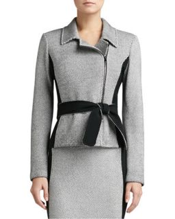 Womens Birdseye Tweed Knit Jacket with Contrast Crepe Marocain & Belt   St.