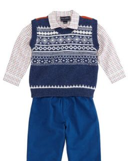 Toddler Boys Grid Check Shirt, Red Multi   Oscar de la Renta   Red stripe (18M)