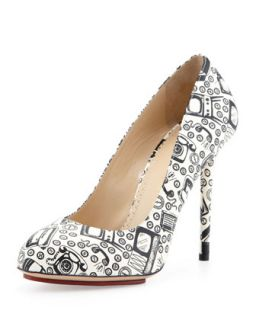 Jennifer Appliance Print Platform Pump   Charlotte Olympia   Black/White (38.