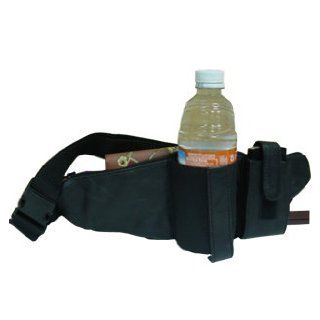 Lambskin Leather Fanny Pack Waist Bag With Drink Holder & Cell Phone Pouch Black Clothing