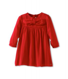 Chloe Kids Crepe Dress W Smocking Front Bow Infant Red