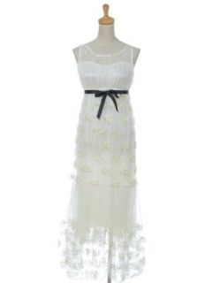 Anna Kaci S/M Fit Off White Beige Golden Flower Lace Detail Floral Maxi Dress at  Women�s Clothing store: