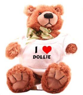 Plush Teddy Bear (Molasses) with I Love Dollie (first name/surname/nickname): Toys & Games