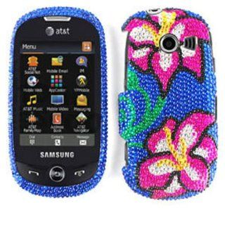 ACCESSORY BLING STONES COVER CASE FOR SAMSUNG FLIGHT II A927 HIBISCUS FLOWERS BLUE: Cell Phones & Accessories