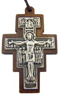 "Catholic Gift Wood Inlay Metal Saint St Francis of Assisi San Damiano Tau Cross Crucifix Pendant with 30"" Cord Necklace: Jewelry"