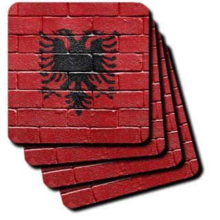 3dRose cst_155167_3 National Flag of Albania Painted Onto a Brick Wall Albanian Ceramic Tile Coasters, Set of 4   Decorative Tiles