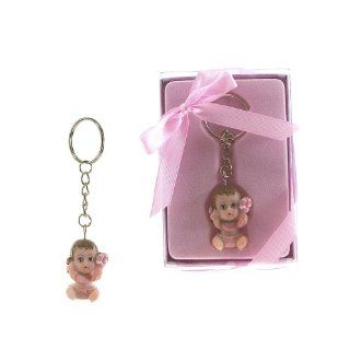 "Lunaura Baby Keepsake   Set of 12 ""Girl"" Baby Holding Onto Rattle Key Chain Favos   Pink Baby"