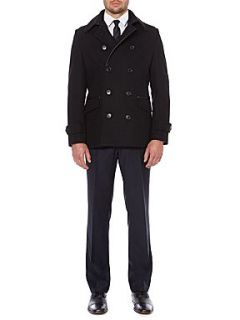 Kenneth Cole Nevada Double Breasted Pea Coat with Trim Detail Black