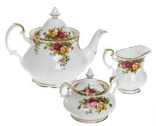 Royal Albert Old Country Roses 3 Piece Tea Set Tea Services Kitchen & Dining