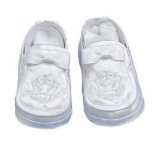 Lauren Madison baby boy Christening Baptism Special occasion Infant Satin Loafer Style Shoes, White, Large: Clothing