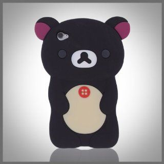 Zany 3D Black Big Cute Teddy Bear silicon silicone soft case cover for Apple iPod Touch 4 4G: Cell Phones & Accessories