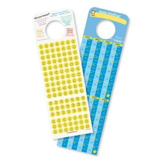 Tooth Brushing Stickers and Chart for Morning and Nighttime, hooks onto door knob!: Toys & Games