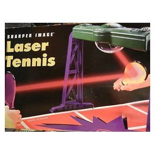 "Tiger Electronics Sharper Image Laser Tennis Portable Tabletop Electronic Laser Tennis Game   an Announcer's Voice Stateslevel of Difficulty Then Reports the Game Score, Game Total, and Set Score   the Super Bright Projects the Fast moving""ball&qu"
