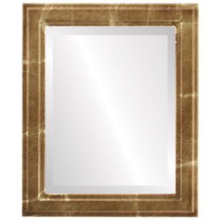 Simple wood Rectangle Beveled Wall Mirror in a Gold Wright style Champagne Gold Frame 16x20 outside dimensions   Wall Mounted Mirrors