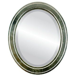 Simple wood Oval Beveled Wall Mirror in a ilver Wright style Silver Leaf with Black Antique Frame 16x20 outside dimensions   Wall Mounted Mirrors
