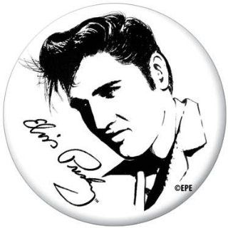 Elvis Presley Black and White Drawing Button 81102 [Toy] Toys & Games