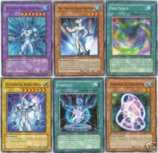 Yugioh Gx Elemental Hero Aqua Neos Fusion Set of 6 Dp03: Toys & Games
