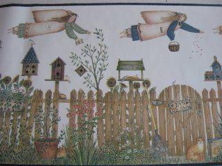 God Bless Our Garden Gardening Angels Wallpaper Border
