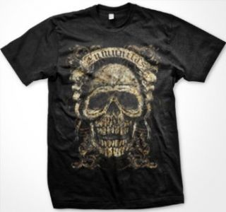 Inmunitas Skull Mens Tattoo T shirt, Vintage Latin Immunity Skull Gothic Style Design Mens Shirt: Clothing