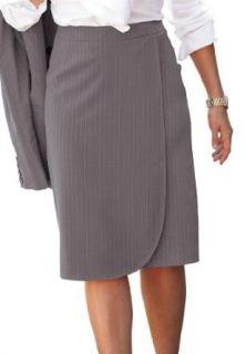 Jessica London Women's Plus Size Skirt Suit With Wrap Front Deep Navy Business Suit Skirt Sets