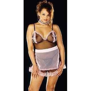 Parisian Maid Plus   Women's Sexy Plus Size French Maid Costume Lingerie Outfit: Adult Exotic Costumes: Clothing
