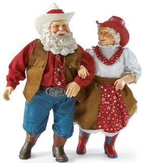 Enesco Department 56 Clothtique Possible Dreams *Dancing with the Claus* Mr. & Mrs. Santa Claus Western Dance  Collectible Figurines