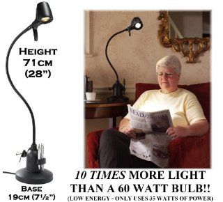'High Definition' Reading Table Light in BLACK   the ultimate reading light   Phenomenal light Quality ~ 10 times the light of a 60 watt bulb   built in dimmer to avoid glare from glossy magazine pages   Energy Efficient: 600 watts output but uses