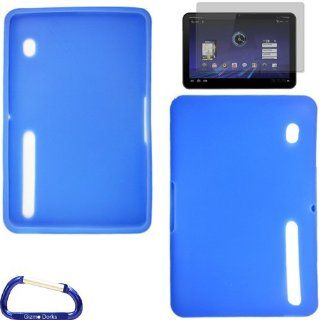 Gizmo Dorks Silicone Skin (Blue) and Anti Grease Screen Guard with Carabiner Key Chain for the Motorola Xoom Tablet Computers & Accessories