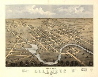 1868 birds eye map of Columbus Columbia Co, Wisconsin Birds eye view of Columbus   Prints