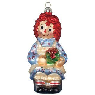 Raggedy Ann With Present Glass Ornament Christmas Holiday Doll Handpainted   Decorative Hanging Ornaments