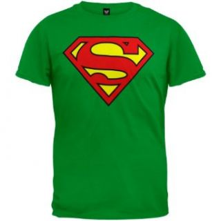 Superman   Shield Logo Kelly Green T Shirt: Clothing