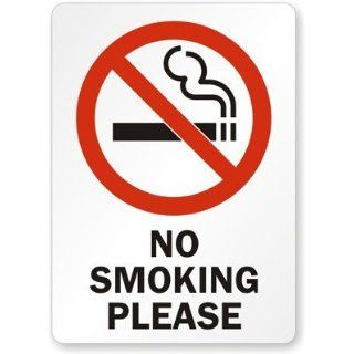 "No Smoking Please (with symbol)   vertical Plastic Sign, 10"" x 7"": Industrial Warning Signs: Industrial & Scientific"