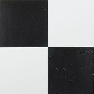 Homeworx Self Adhesive Black and White Vinyl Floor Tiles (60 square feet) Vinyl Flooring