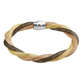 ".925 Sterling Silver Tri color 7.5mm Thickness Italian Bracelet with Magnetic Enclosure   7.25"" Inches: The World Jewelry Center: Jewelry"