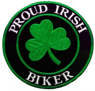 Proud Irish Biker Embroidered Patch Lucky Clover Shamrock Iron On Ireland Emblem: Clothing