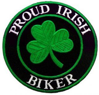 Proud Irish Biker Embroidered Patch Lucky Clover Shamrock Iron On Ireland Emblem: Clothing