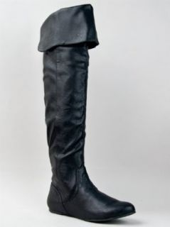 Qupid PROUD 09 Cuff Over the Knee Thigh High or Knee High Slouchy Flat Boot, Black, 7: Shoes