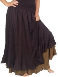 Lotustraders Skirt Maxi Layer Gauzy Smock Hippie Gypsy 2X 3X 4X Black Khaki D626 at  Women�s Clothing store