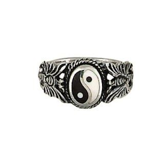 Sterling Silver Yin Yang w/ Butterflies Ring Women's Men's Jewelry (8): Jewelry