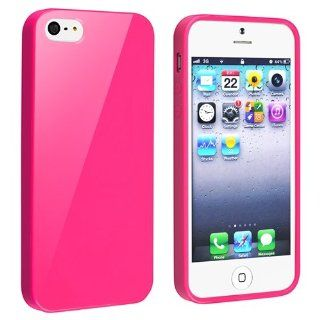 Generic TPU Rubber Skin Case for iPhone 5   Retail Packaging   Hot Pink Jelly: Cell Phones & Accessories